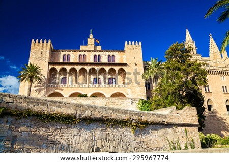the Royal residence Almudaina Palace in Palma de Mallorca, Spain - stock photo