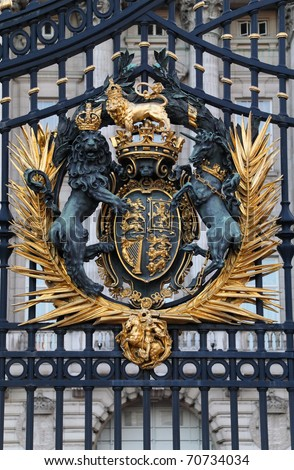 The Royal Seal. Close up of gate at Buckingham Palace. - stock photo