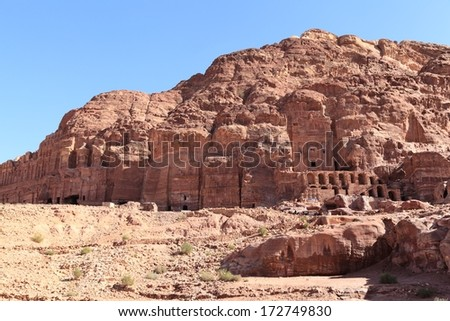 The Royal Tombs at Petra - stock photo