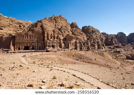 The Royal tombs in Petra in Jordan - stock photo