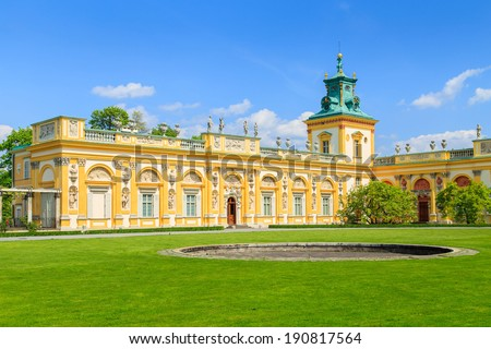 The royal Wilanow Palace in Warsaw, Poland. View on the main facade.