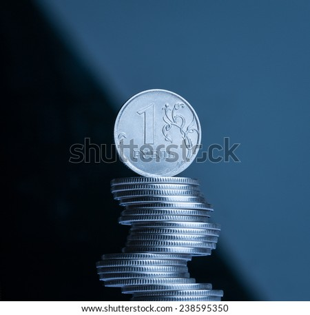 The ruble - russian main coin. Russian national currency. - stock photo