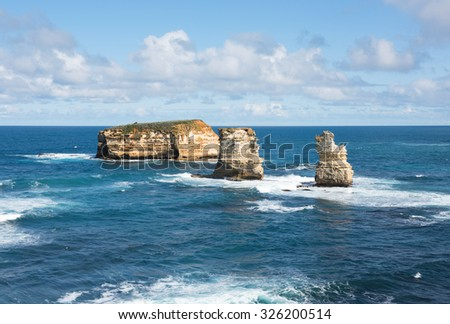 The rugged coastline beside the Great Ocean Road, Southern Victoria, Australia