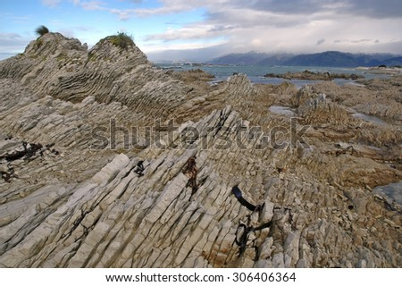 The Rugged Coastline of Kaikoura, New Zealand - stock photo
