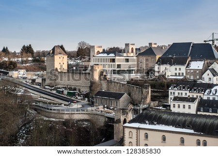 the ruin of city wall in luxembourg city at dusk - stock photo