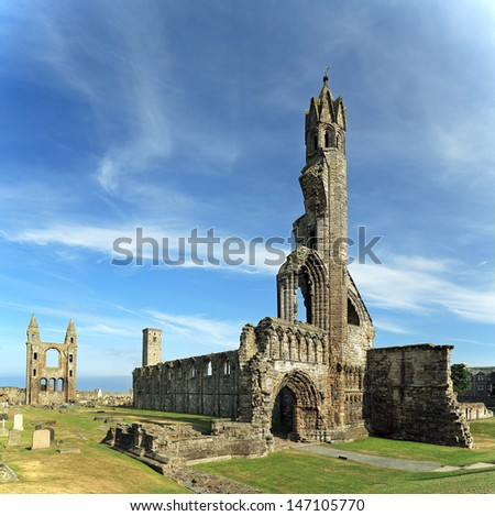 The ruin of St Andrews Cathedral, Fife, Scotland. - stock photo