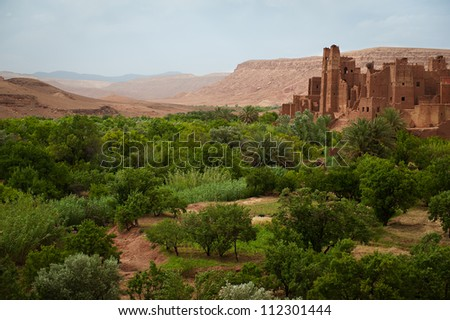 The ruined Kasbah Tamdaght in central Morocco - stock photo