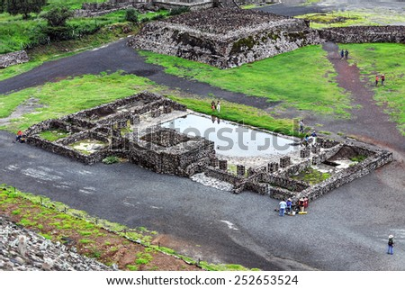 The ruins in Teotihuacan. View from pyramid - Mexico, Latin America - stock photo