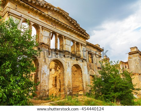 The ruins of an ancient house in Odessa, Ukraine. Historic building destroyed by vandals of the proletariat during a revolution in Russia in the 20th century.