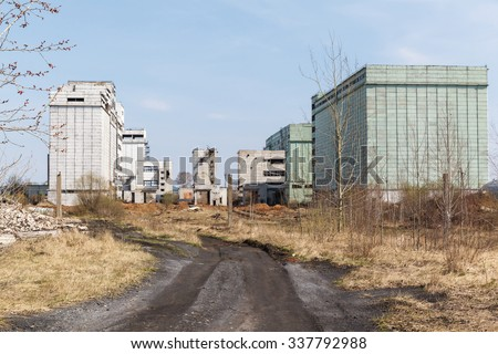 the ruins of an old abandoned factory in Russia - stock photo