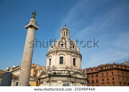 The ruins of Ancient Rome in the Roman Forum, Rome, Italy - stock photo