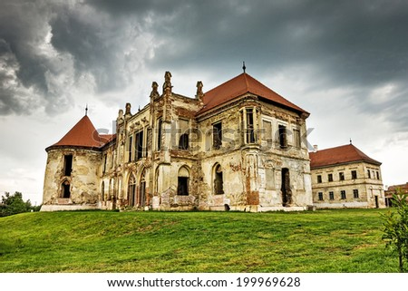 The ruins of  Banffy Castle  in Bontida.Transylvania Romania - stock photo