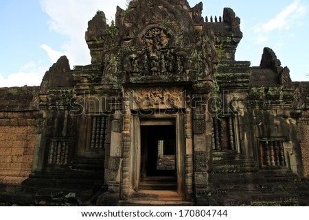 The ruins of Banteay Srei, Angkor Wat, near Siem Reap, Cambodia. - stock photo