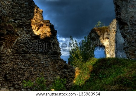 The ruins of castle Lithewa - stock photo