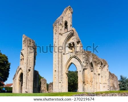 The ruins of Glastonbury Abbey Somerset England UK Europe - stock photo