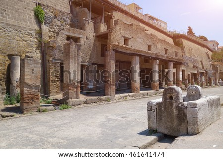 The ruins of Herculaneum excavation in Ercolano near Naples, Italy