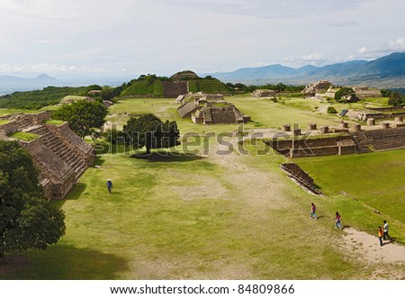 The ruins  of Monte Alban in Oaxaca, Mexico - stock photo
