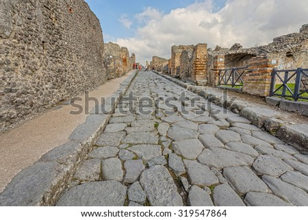 The ruins of Pompeii, destroyed by the eruption of Mount Vesuvius. Italy. - stock photo