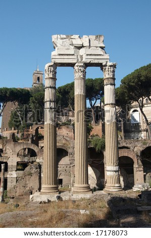The ruins of Roman forum. Temple of Castor and Pollux. Rome, Italy