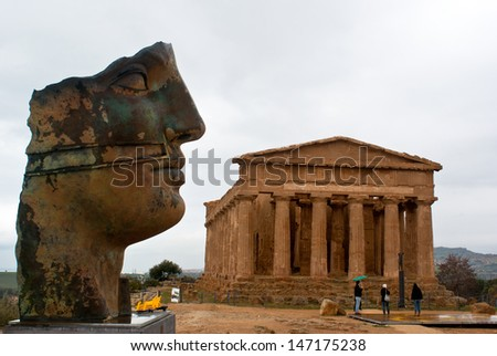 The ruins of Temple of Concordia, Valey of temples, Agrigento, Sicily, Italy - stock photo