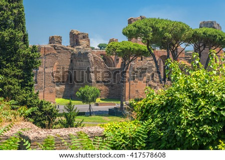 The ruins of the ancient Baths of Caracalla in Rome. - stock photo