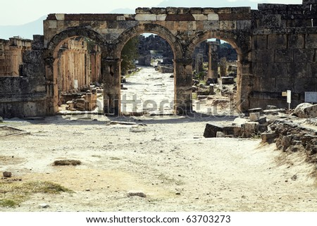 the ruins of the ancient city of Hierapolis on the hill Pamukkale, Turkey. Artistic colors added.
