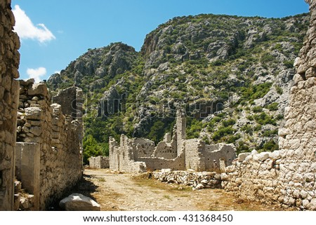 the ruins of the ancient city of Olympos in south Turkey