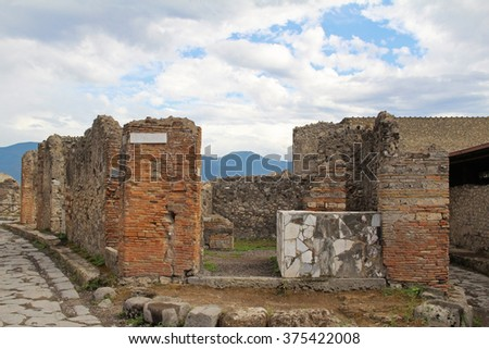 The ruins of the ancient city of Pompeii, which was destroyed during the eruption of Mount Vesuvius in 79 AD - stock photo