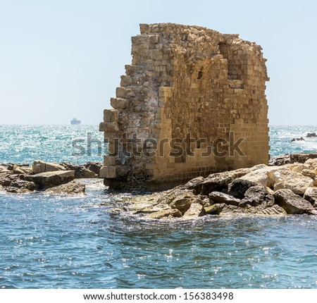 The ruins of the ancient city walls of the medieval city of Akko, Israel