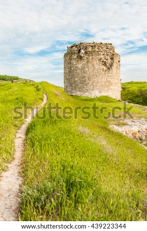 The ruins of the ancient fortress in Crimea, Inkerman. The ruins of the ancient city. The fortress on the cliffs. Ruined wall of ancient medieval fortress. Remains of an ancient fortress - stock photo
