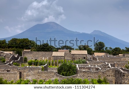 The ruins of the ancient Roman town-city of Pompeii that was partially destroyed and buried under volcanic ash in the eruption of Mount Vesuvius in AD 79.