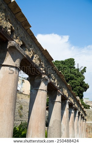 The ruins of the ancient Roman town of Herculaneum in Italy - stock photo