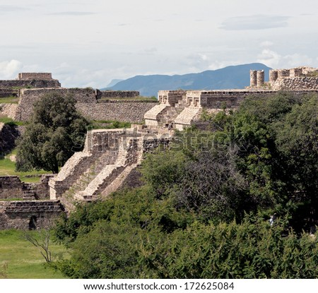 The ruins of the ancient Zapotec city Monte Alban, Oaxaca, Mexico - stock photo