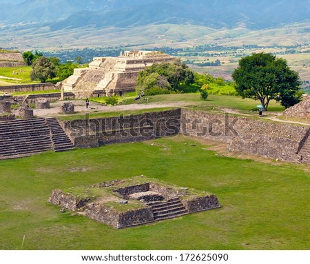 The ruins of the ancient Zapotec city Monte Alban - Oaxaca, Mexico - stock photo