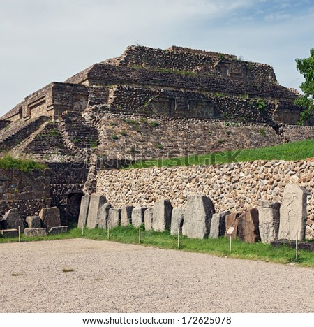 The ruins of the ancient Zapotec city of Monte Alban - Oaxaca, Mexico. - stock photo