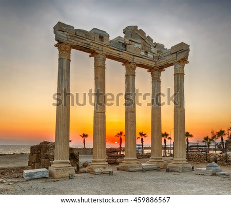 The ruins of the Apollo Temple in Side, Turkey