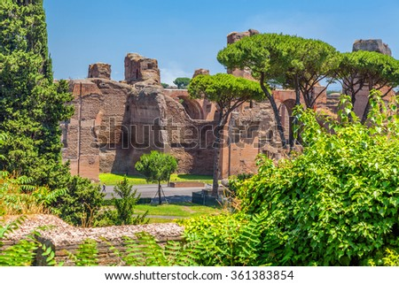 The ruins of the Baths of Caracalla. (Thermae Antoninianae) - stock photo