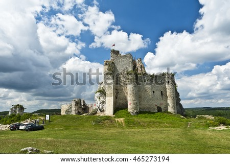 The ruins of the castle in Mirow - ancient fortress in the Jura Krakow-Czestochowa in Poland.