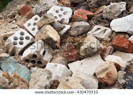 the ruins of the destroyed house - stock photo