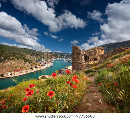 The ruins of the Genoese fortress in the Bay of Balaclava, Crimea - stock photo