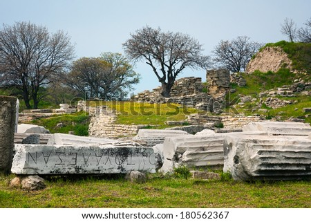 The ruins of the legendary ancient city of Troy. Turkey