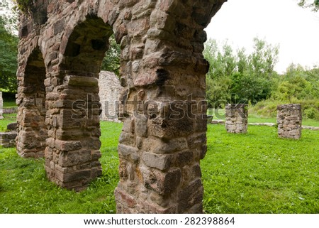 the ruins of the Romanesque church Cyriak at Camburg - stock photo