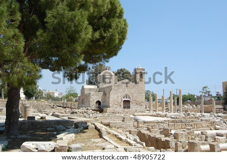 the ruins of which uncovered around the church, is one of the largest basilicas found so far in Cyprus (4 century). - stock photo
