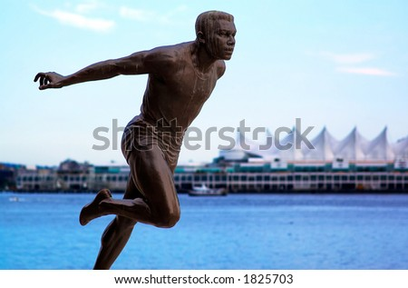The runner statue in front of Canada Place. More with keyword group14b