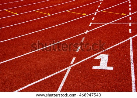 the running track with number one