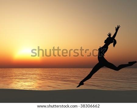 The running woman on coast of ocean - stock photo