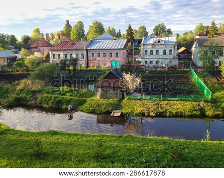 The russian ancient village Vyatskoe in Yaroslavl region. photo taken on mobile phone - stock photo