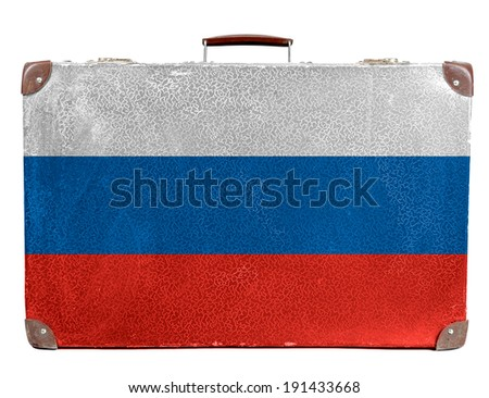 The Russian flag painted on old grungy travel suitcase or trunk  - stock photo