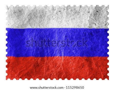 The Russian flag painted on paper postage  stamp - stock photo