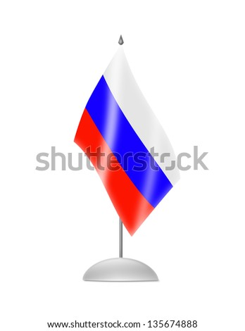 The Russian flag. Table Flag. Isolated on white.